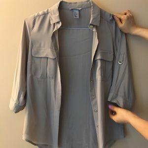 H&M beige silk blouse